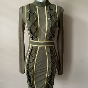 Balmain inspired mesh bodycon dress with lace up